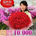バラの花束 60本 10,000円(税別) 還暦祝い 全国お届け 送料無料 あす楽 花 フラワー バラ 生花 花束 赤バラ ピンクば…