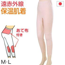 部分保温遠赤肌着 毛混袋編み スラックス下(腰・膝部分にセラミック) M〜3L (部分保温 遠赤外線 冷え対策 レディース インナーボトム アンゴラ) (婦人肌着)