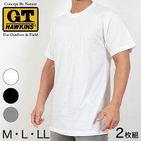 グンゼTシャツG.T.HAWKINS2枚組(M〜LL)(GUNZEGTホーキンス綿100%丸首tシャツ肌着下着インナー大きいサイズ白ホワイトメンズ)【定番】