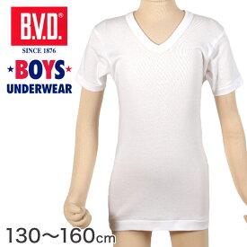 BVD 子ども 男の子 半袖Vネック シャツ 綿100% 130〜160cm (ボーイズ インナー V首 下着 男子 男児 キッズ 白 ホワイト コットン 130 140 150 160)