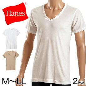 ヘインズ シャツ ビズ魂 メンズ 深Vネック Tシャツ 2枚組 M〜LL (Hanes BIZ DAMASHII 抗菌防臭 吸汗速乾 深V 長め丈)