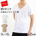 ヘインズ シャツ ビズ魂 メンズ 深Vネック Tシャツ 2枚組 3L〜5L (Hanes BIZ DAMASHII 抗菌防臭 吸汗速乾 深V 長め丈 大きいサイズあり 大きめ 3L 4L 5L)