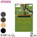 アツギ ATSUGI TIGHTS 30デニールタイツ 2足組 S-M〜L-LL (アツギタイツ レディース 黒 ベージュ 肌色 グレー ブラウン 茶色)