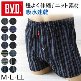 BVD トランクス ニット bvd メンズ パンツ 吸収速乾 前あき M〜LL M〜LL (B.V.D. 下着 肌着 ニットトランクス インナー ボトムス 大きいサイズ チェック ストライプ M L LL)
