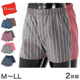 ヘインズ 布帛トランクス 2枚組 M〜LL (Hanes メンズ パンツ インナー 下着 前開き)