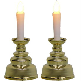 スマイルキッズ安心のろうそくミニ ゴールド一対/2本 送料無料 ミニ仏壇 ペット供養 電池式 配線不要 LED