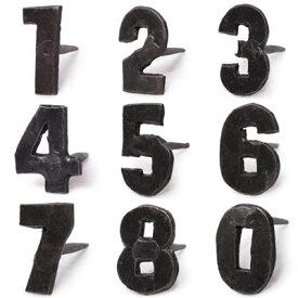 アイアン 釘 数字 ネイル 飾り釘 ドアスタッド ドアスタッズ ネームプレート アイアンナンバーネイル