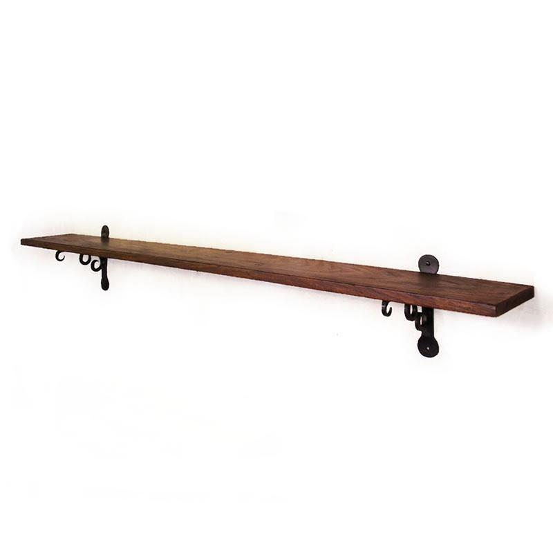 アイアンブラケットとウッドボードの壁掛け棚1200 ウォールシェルフ 120cm 壁掛棚 アイアン ブラケット 木製 ウッド ラック シェルフ クラシック 棚受け 棚支え シーシャム ローズウッド 棚板