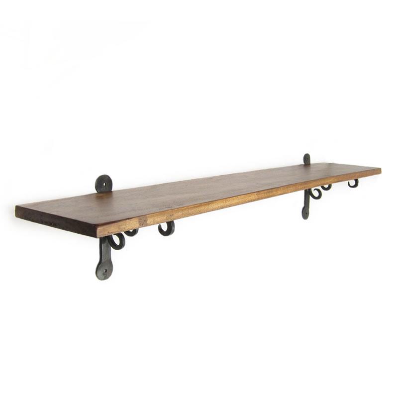 アイアンブラケットとウッドボードの壁掛け棚900 ウォールシェルフ 90cm 壁掛棚 木製 ウッド ラック シェルフ クラシック アイアンブラケット 棚受け 棚支え シーシャム ローズウッド 棚板