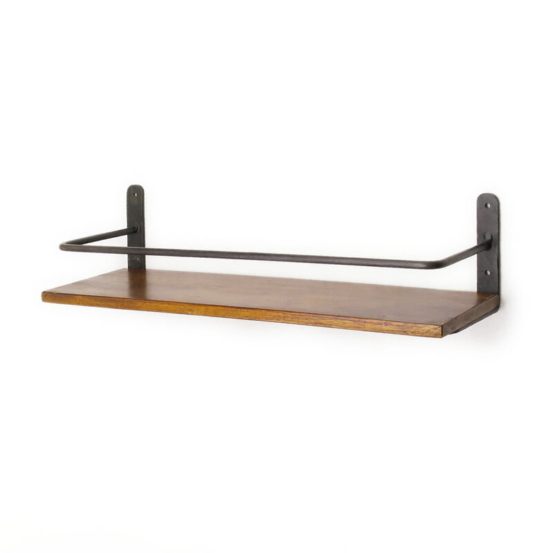 シーシャムボードアイアンウォールシェルフ アイアンとシーシャムの壁掛け棚 ウォールシェルフ 木製 鉄