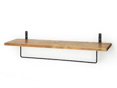 タオルハンガー付シェルフ タオル掛け 棚付き アイアン ウォールシェルフ 木製 ウッド 壁掛け棚
