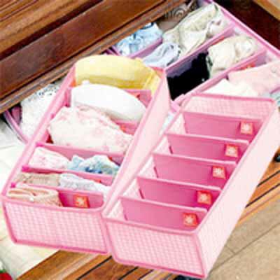 【タイムセール】【宅配便発送】ブラ・ショーツ収納ケース2個組 ピンク