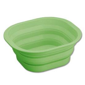 【期間限定】【送料無料】【宅配便発送】たためるシリコン洗い桶 グリーン