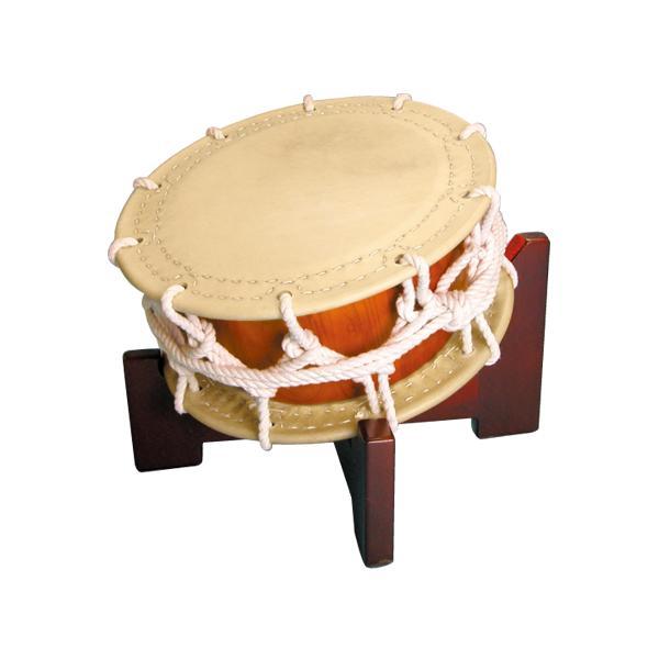 締太鼓35cm(ひも締め・あわせ胴) 木製座り台座セット