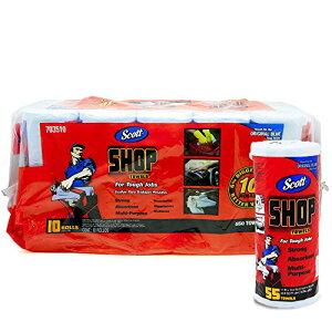 【平日12時までのご注文で当日出荷】Scott スコット SHOP TOWELS ショップタオル ブルーロール 55枚 10ロールセット 洗車 ウェス 大掃除 年末
