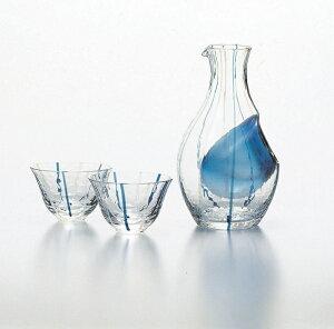 酒器 徳利 おちょこセット 冷酒セット 酒グラスコレクション 徳利300ml 盃90ml 冷酒器ブルーライン 東洋佐々木ガラス ギフト