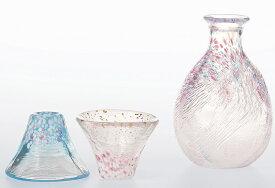 送料無料 ギフト とっくりとおちょこのセット 桜富士 酒器セット 手づくり 徳利とお猪口 東洋佐々木ガラス
