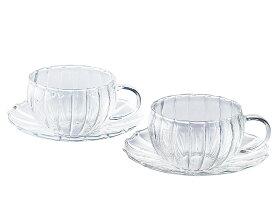 耐熱ガラス ティーカップペアセット ティーフォーツー 240ml YF-1003W ギフト 45515047044543