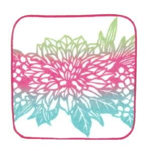 季ごころ屋 日本製、切り絵ハンカチ ダリア 20×20cm 綿100% 〈タオルハンカチ・ガーゼハンカチ・はんかち・ハンドタオル〉