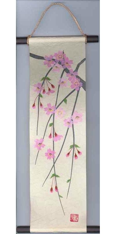 贈り物、プレゼントにどうぞ! 和紙製品 日本製 和風ちぎり絵・貼り絵タペストリー 掛軸・掛け軸 春 桜・サクラ Kakejiku, a wall scroll 〈海外・外国へのお土産・プレゼントにも人気です。 日本の伝統品 通販〉