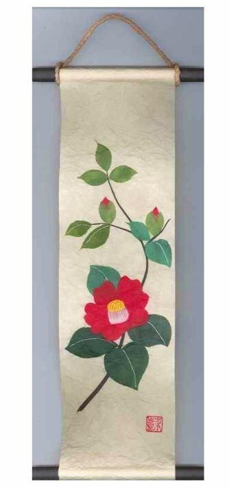 贈り物、プレゼントにどうぞ! 和紙製品 日本製 和風ちぎり絵・貼り絵タペストリー 掛軸・掛け軸 春 椿・つばき・ツバキ Kakejiku, a wall scroll 〈海外・外国へのお土産・プレゼントにも人気です。 日本の伝統品 通販〉