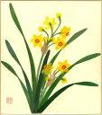 色紙 日本画 季節のちぎり絵シリーズ 冬 1月の誕生花 貼り絵スイセン ちぎり紙水仙
