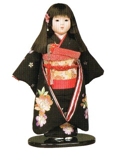 送料無料 平安豊久作 市松人形 13号 本刺繍 黒 〈平安豊久 いちまつにんぎょう いちまさん 日本人形 和人形 和服衣装着人形 伝統人形 衣裳着人形 衣装着人形 着物人形 女の子のお人