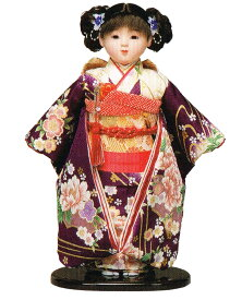 送料無料 平安豊久作 市松人形 13号 草木染 紫 〈平安豊久 いちまつにんぎょう いちまさん 日本人形 和人形 和服衣装着人形 伝統人形 衣裳着人形 衣装着人形 着物人形 女の子のお人形 おにんぎょう 伝統工芸品 通販〉