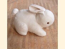 ぬいぐるみ オーガニックコットン(有機栽培綿) ラビット うさぎ (這い/チェック) 〈動物 どうぶつ 兎 兔 ウサギ 玩具 おもちゃ ヌイグルミ 縫い包み 縫いぐるみ プレゼント・ギフト・贈り物にもおススメです☆ 通販〉