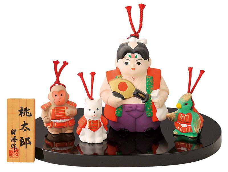 陶器製 土鈴・福鈴 五月人形 武者人形 日本人形 鬼ヶ島へ鬼退治 桃太郎とお供の犬・猿・雉! ももたろう+いぬ・さる・きじ☆