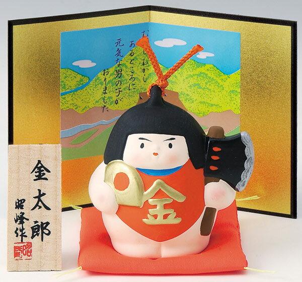 陶器製 武者人形・日本人形 二曲屏風付き豪華赤座布団乗り金太郎☆