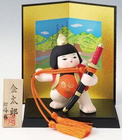 陶器製 武者人形・日本人形 盆のり太刀持ち金太郎と二曲屏風