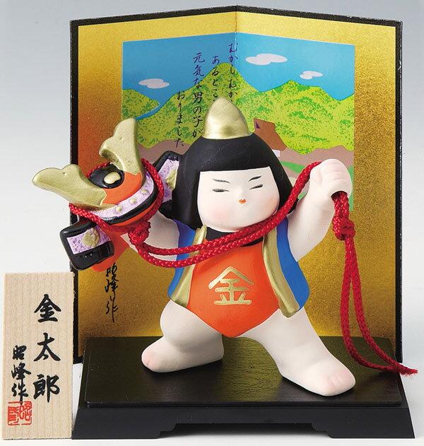 陶器製 武者人形・日本人形 盆のり兜持ち金太郎と二曲屏風