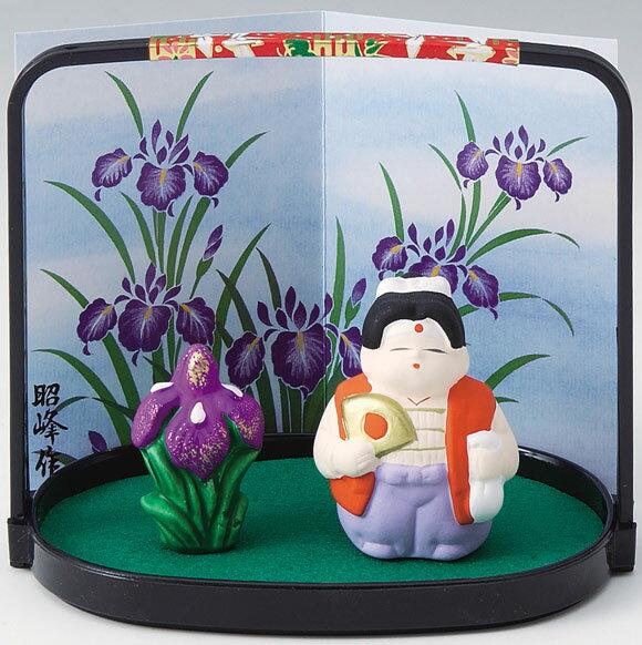 陶器製 武者人形・日本人形 激安! 手提げ盆のり扇持ちミニミニ桃太郎と二曲屏風・菖蒲置物