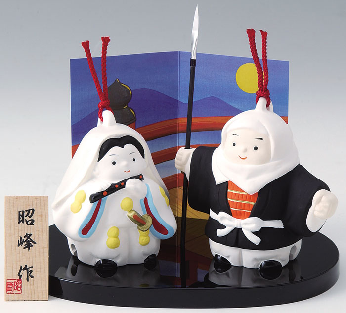 陶器製 土鈴・福鈴 武者人形・日本人形 御伽話 五条大橋の牛若丸と武蔵坊弁慶 〈和のインテリア・置き物 日本の伝統品・歴史 うしわかまるとべんけい 源義経 むしゃにんぎょう にほんにんぎょう〉