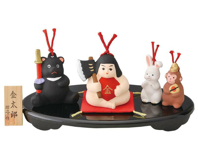 陶器製 土鈴・福鈴 五月人形 武者人形 日本人形 鉞(マサカリ)持ち金太郎と森の仲間たち(くま・うさぎ・さる)