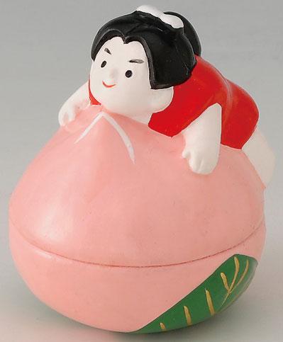 陶器製 武者人形・日本人形 桃太郎とモモ 起き上がり人形 起き上がりこぼし