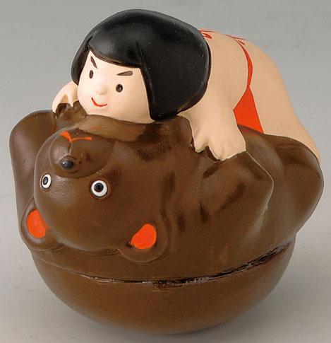 陶器製 武者人形・日本人形 金太郎と熊 起き上がり人形 起き上がりこぼし