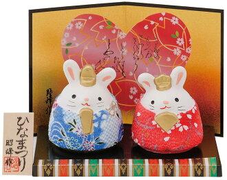 Dolls made of crepe, Bong made Meoto rabbit peace crepe Hinamatsuri Bon, folding screens, wood gives it is. Q Japan traditional dolls dolls dolls dolls o雛 ornament two rabbits Hina and Hina and Dairi-like Princess Festival Hinamatsuri Hina 3/3 crepe doll