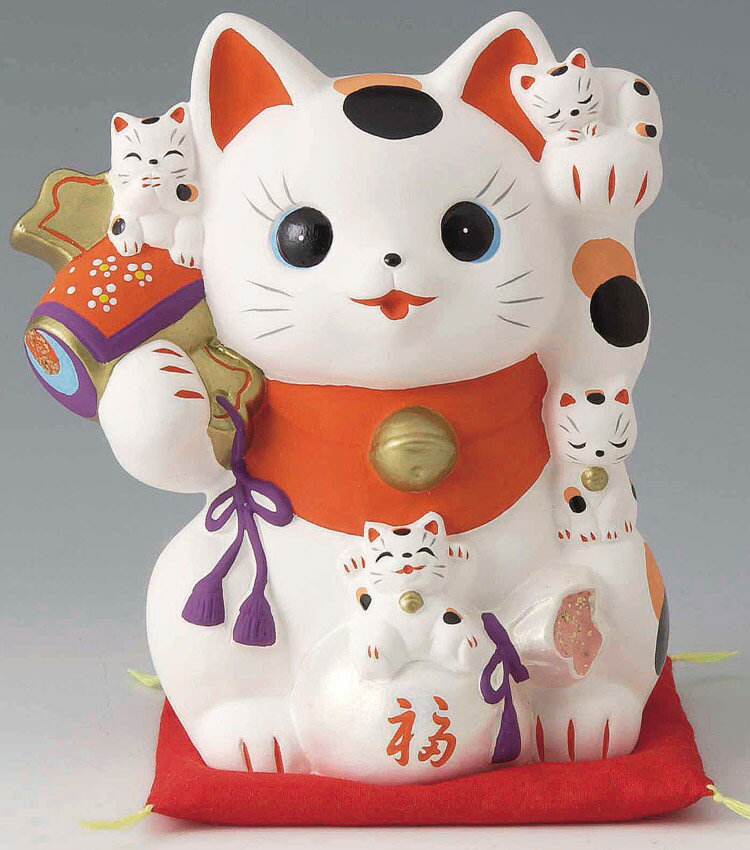 開運招福の縁起物、笑う門には福来る! 陶器製 打ち出の小槌持ち 猫づくし福福招き猫 貯金箱 ネコ高さ16.5cm 〈まねきねこ cat ちょきんばこ 動物の貯金箱 猫の置物 プレゼント・ギフト・贈り物にもおススメです! 通販〉