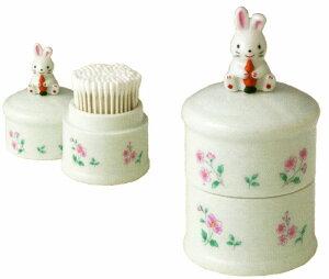 笑福喜楽 陶器製 うさぎの綿棒入れ 綿棒入れ 兎 〈めんぼう入れ 綿棒ケース 綿棒箱 兔 ウサギ置物 綿棒収納 綿棒入 めんぼういれ ウサギ綿棒入れ ウサギ〉