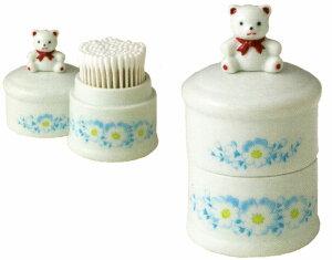 笑福喜楽 陶器製 くまの綿棒入れ 熊 〈めんぼう入れ 綿棒ケース 綿棒箱 クマ置物〉