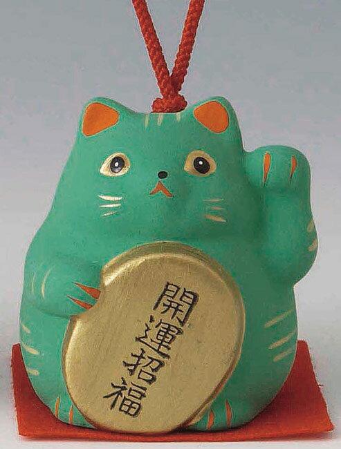 開運招福! 陶器製 風水招き猫 左手(左前脚)上げ 緑色 高さ5.8cm まねきねこ Feng Shui Beckoning Cat Maneki Neko
