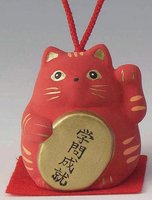学問成就! 陶器製 風水招き猫 左手(左前脚)上げ 赤色 高さ5.8cm まねきねこ Feng Shui Beckoning Cat Maneki Neko