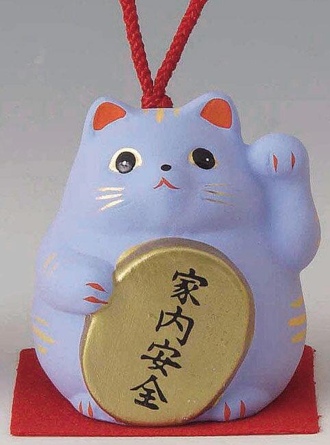 家内安全! 陶器製 風水招き猫 左手(左前脚)上げ 青色 高さ5.8cm まねきねこ Feng Shui Beckoning Cat Maneki Neko