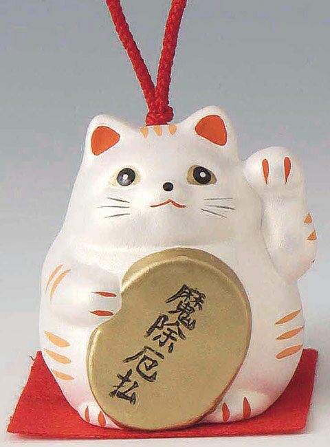 魔除厄払! 陶器製 風水招き猫 左手(左前脚)上げ 銀色 高さ5.8cm まねきねこ Feng Shui Beckoning Cat Maneki Neko