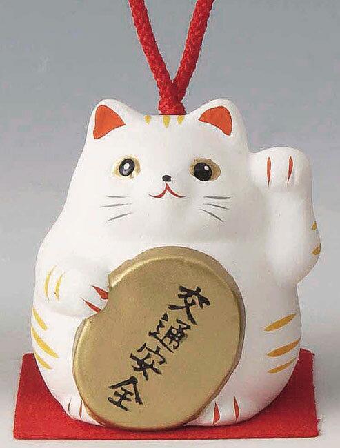 交通安全! 陶器製 風水招き猫 左手(左前脚)上げ 白色 高さ5.8cm まねきねこ Feng Shui Beckoning Cat Maneki Neko