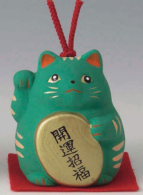 開運招福! 陶器製 風水招き猫 右手(右前脚)上げ 緑色 高さ5.8cm まねきねこ Feng Shui Beckoning Cat Maneki Neko