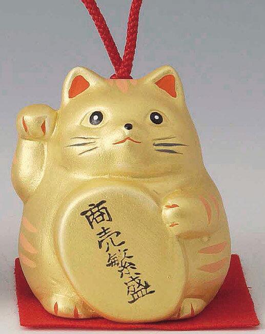 商売繁盛! 陶器製 風水招き猫 右手(右前脚)上げ 金色 高さ5.8cm まねきねこ Feng Shui Beckoning Cat Maneki Neko