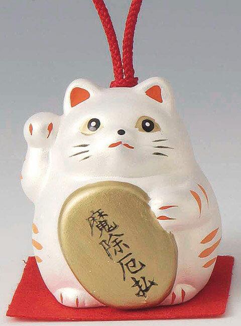 魔除厄払! 陶器製 風水招き猫 右手(右前脚)上げ 銀色 高さ5.8cm まねきねこ Feng Shui Beckoning Cat Maneki Neko